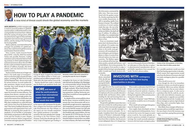 Article Preview: HOW TO PLAY A PANDEMIC, October 24th 2005 | Maclean's