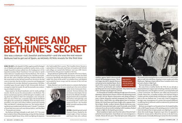 Article Preview: SEX, SPIES AND BETHUNE'S SECRET, October 24th 2005 | Maclean's