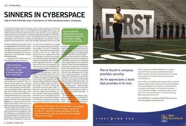 Article Preview: SINNERS IN CYBERSPACE, October 24th 2005 | Maclean's