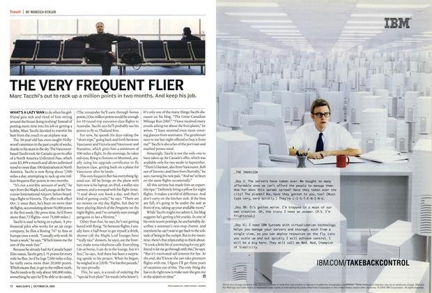 Article Preview: THE VERY FREQUENT FLIER, October 24th 2005 | Maclean's