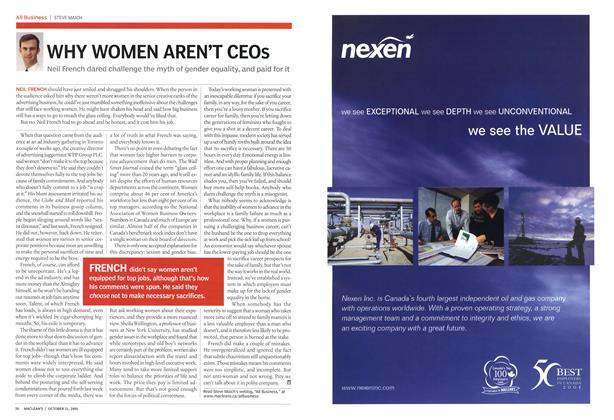 Article Preview: WHY WOMEN AREN'T CEOs, October 31st 2005 | Maclean's