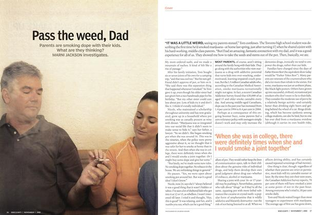 Article Preview: Pass the weed, Dad, November 2005 | Maclean's