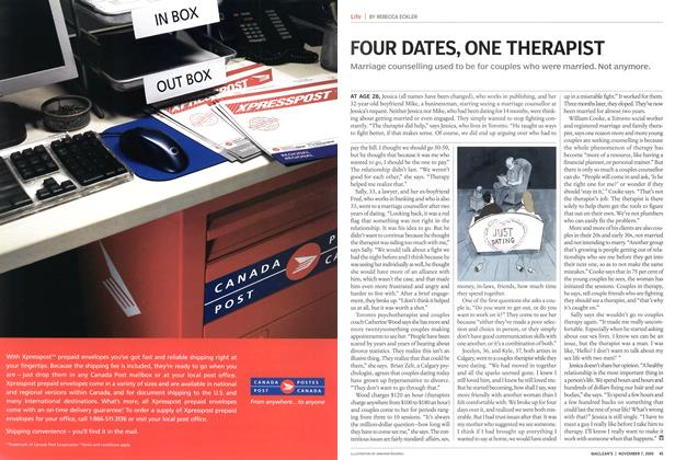 Article Preview: FOUR DATES, ONE THERAPIST, November 2005 | Maclean's