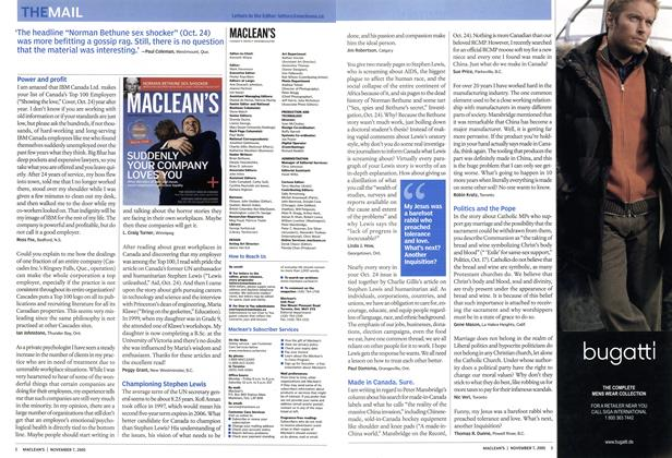 Article Preview: THE MAIL, November 7th 2005 | Maclean's