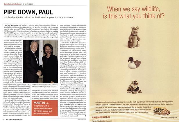Article Preview: PIPE DOWN, PAUL, November 7th 2005 | Maclean's