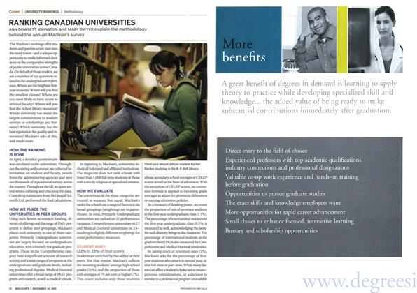 Article Preview: RANKING CANADIAN UNIVERSITIES, November 14th 2005 | Maclean's