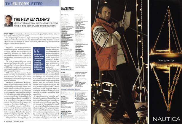 Article Preview: THE NEW MACLEAN'S, November 14th 2005 | Maclean's