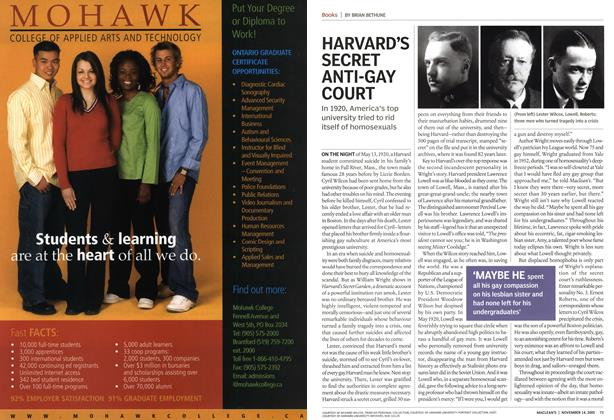 Article Preview: HARVARD'S SECRET ANTI-GAY COURT, November 14th 2005 | Maclean's