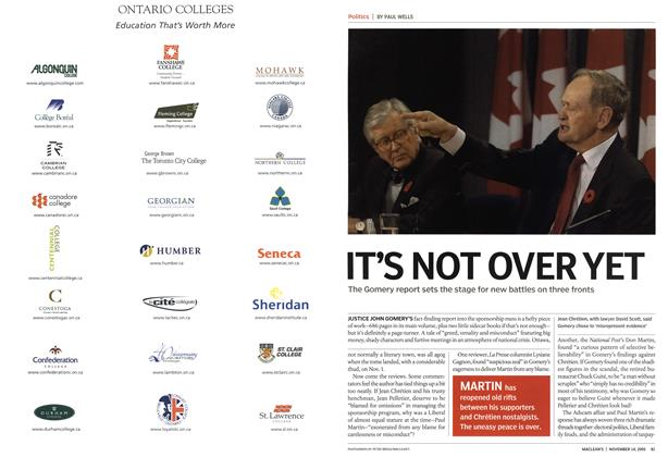 Article Preview: ITS NOT OVER YET, November 14th 2005 | Maclean's