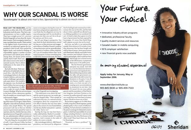 Article Preview: WHY OUR SCANDAL IS WORSE, November 14th 2005 | Maclean's