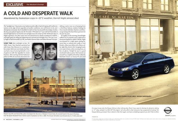 Article Preview: A COLD AND DESPERATE WALK, November 2005 | Maclean's