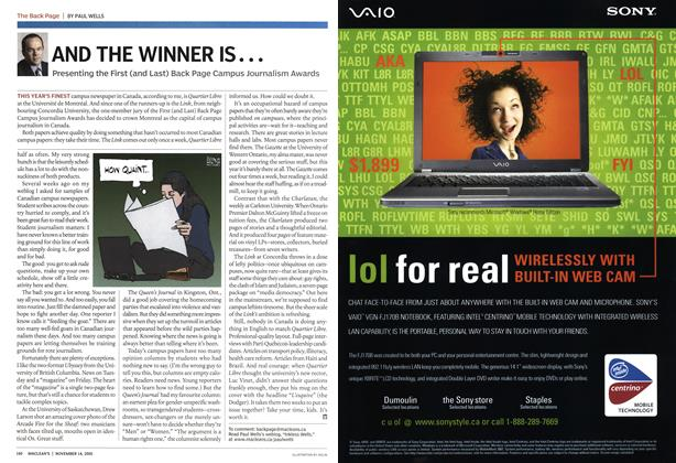Article Preview: AND THE WINNER IS..., November 14th 2005 | Maclean's