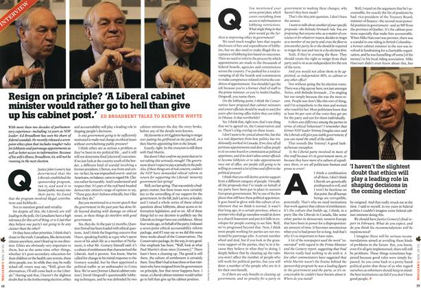 Article Preview: Resign on principle? 'A Liberal cabinet minister would rather go to hell than give up his cabinet post.', NOV 28-DEC. 5 2005 | Maclean's