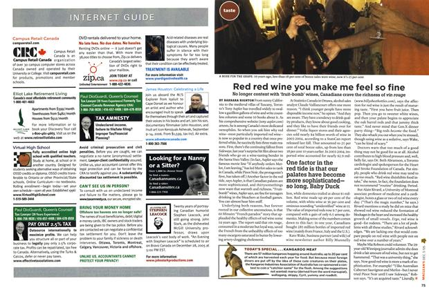 Article Preview: Red red wine you make me feel so fine, December 6-12 2005   Maclean's