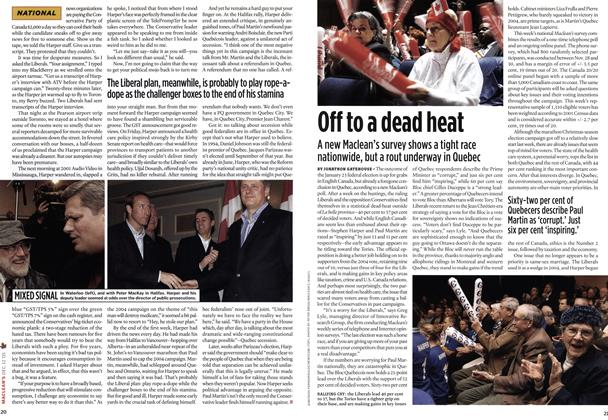 Article Preview: Off to a dead heat, DEC.  12-19 2005 | Maclean's