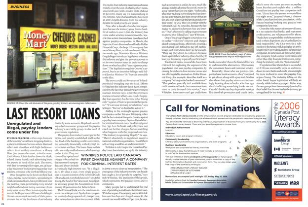 Article Preview: LAST RESORT LOANS, APR. 3rd 2006 2006   Maclean's