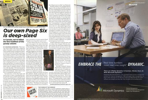 Article Preview: Our own Page Six is deep-sixed, APR. 24th 2006 2006 | Maclean's