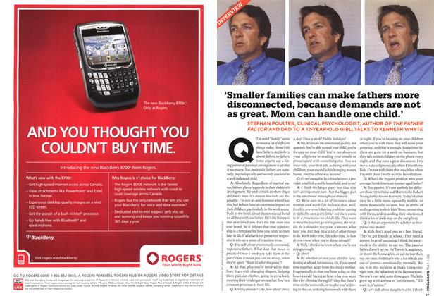 Article Preview: 'Smaller families can make fathers more disconnected, because demands are not as great. Mom can handle one child.', MAY 1st 2006 2006 | Maclean's