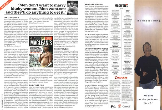 Article Preview: 'Men don't want to marry bitchy women. Men want sex and they'll do anything to get it.', MAY 1st 2006 2006 | Maclean's