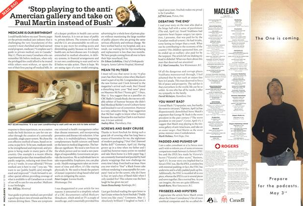 Article Preview: MAIL BAG, MAY 15th 2006 2006 | Maclean's