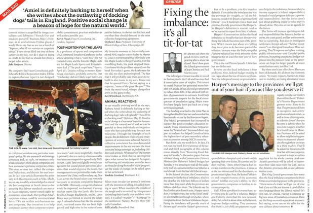 Article Preview: Fixing the imbalance: it's all tit-for-tat, MAY 15th 2006 2006 | Maclean's