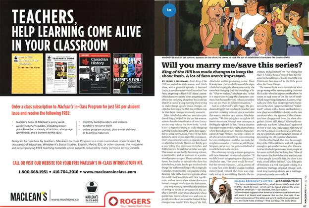 Article Preview: Will you marry me/save this series?, MAY 22nd 2006 2006   Maclean's