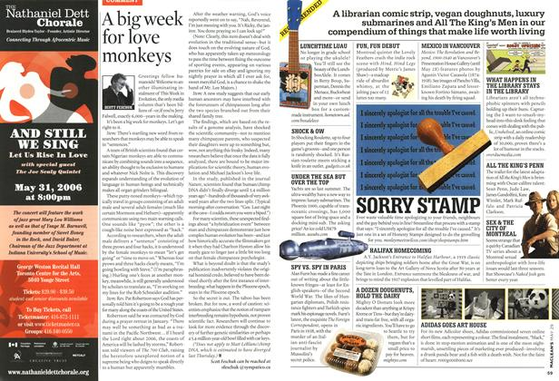 Article Preview: A big week for love monkeys, MAY 29th 2006 2006 | Maclean's