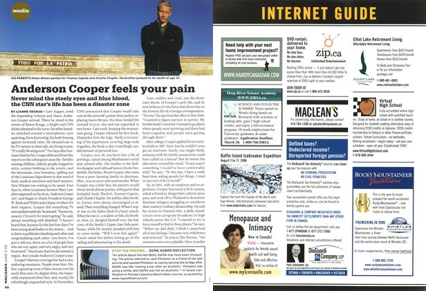 Article Preview: Anderson Cooper feels your pain, JUN. 5th 2006 2006 | Maclean's