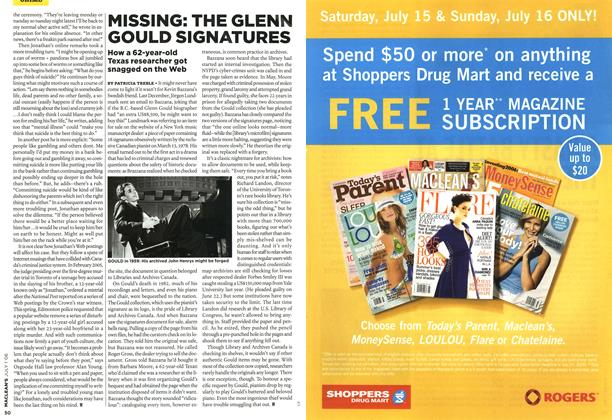 Article Preview: MISSING: THE GLENN GOULD SIGNATURES, JUL. 1st 2006 2006 | Maclean's
