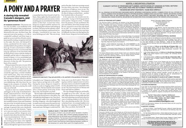 Article Preview: A PONY AND A PRAYER, AUG. 14th 2006 2006 | Maclean's