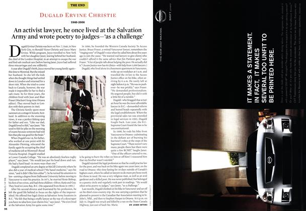 Article Preview: DUGALD ERVINE CHRISTIE 1940-2006, AUG. 14th 2006 2006 | Maclean's