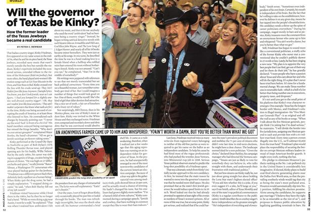 Article Preview: Will the governor of Texas be Kinky?, SEPT. 4th 2006 2006 | Maclean's
