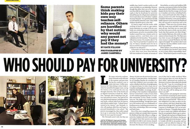 Article Preview: WHO SHOULD PAY FOR COLLEGE, SEPT. 11th 2006 2006 | Maclean's