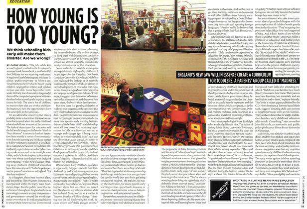 Article Preview: HOW YOUNG IS TOO YOUNG?, SEPT. 11th 2006 2006 | Maclean's