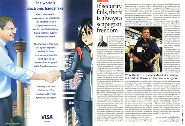 Article Preview: If security fails, there is always a scapegoat: freedom, SEPT. 11th 2006 2006 | Maclean's
