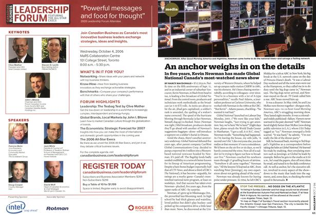 Article Preview: An anchor weighs in on the details, OCT. 2nd 2006 2006 | Maclean's