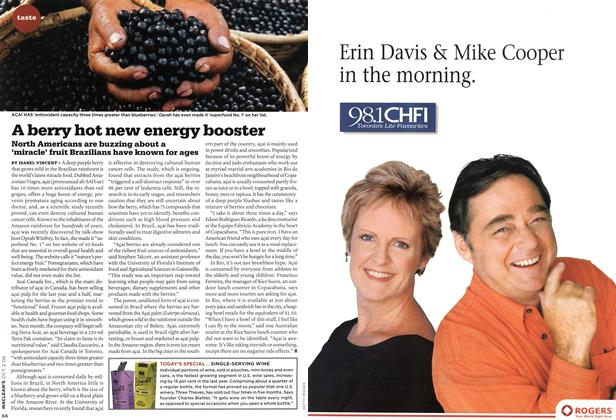 Article Preview: A berry hot new energy booster, OCT. 2nd 2006 2006 | Maclean's