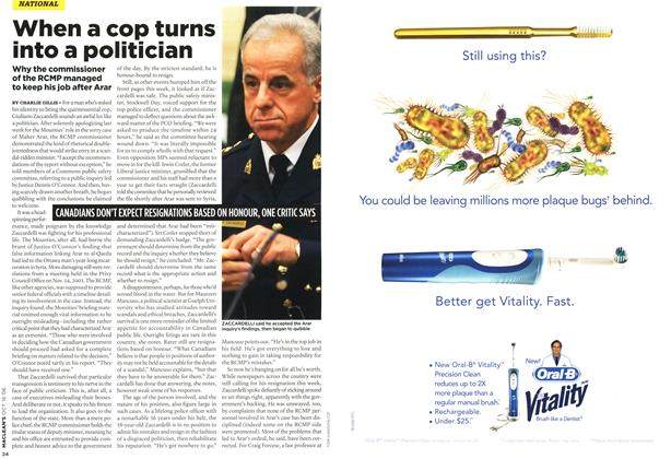 Article Preview: When a cop turns into a politician, OCT. 16th 2006 2006 | Maclean's