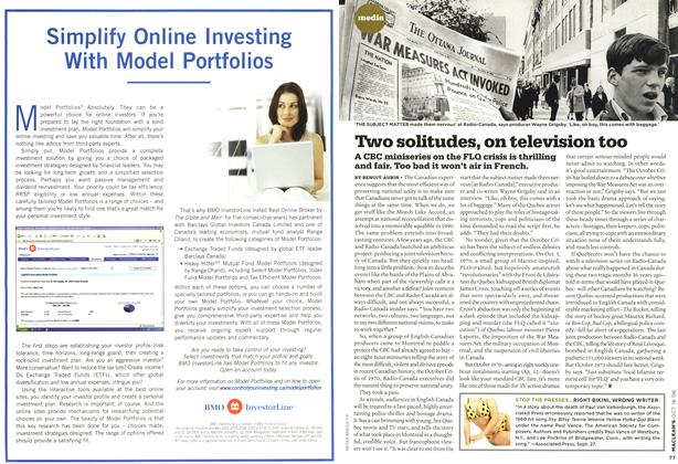 Article Preview: Two solitudes, on television too, OCT. 16th 2006 2006 | Maclean's