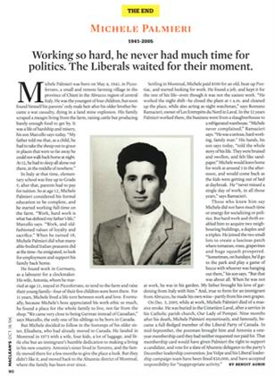 Article Preview: MICHELE PALMIERI, OCT. 16th 2006 2006 | Maclean's