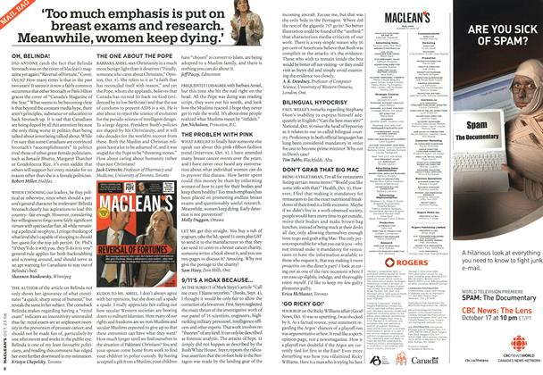 Article Preview: MAIL BAG, OCT. 23rd 2006 2006 | Maclean's