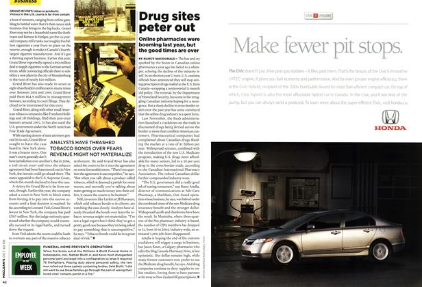 Article Preview: Drug sites peter out, OCT. 30th 2006 2006 | Maclean's