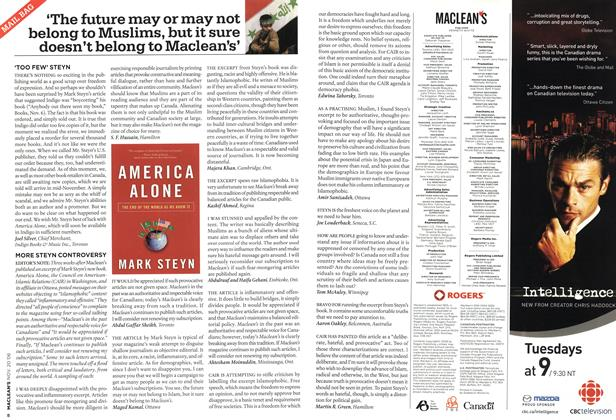Article Preview: MAIL BAG, NOV. 20th 2006 2006 | Maclean's