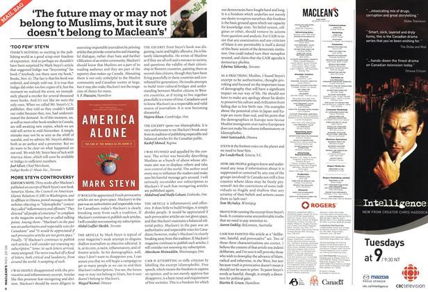 Article Preview: MAIL BAG, NOV. 20th 2006 2006 | Maclean's