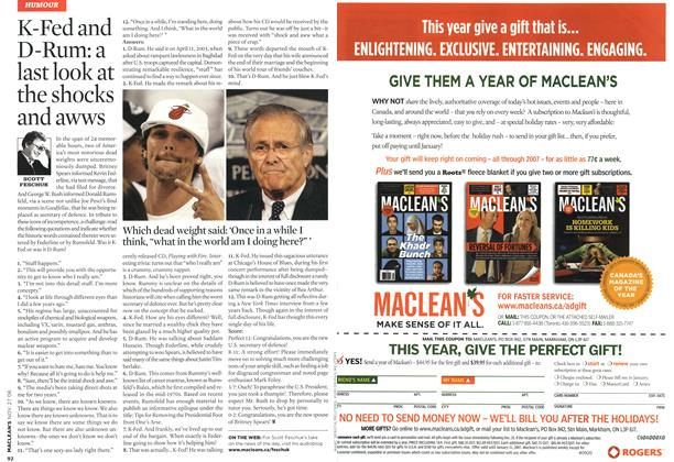 Article Preview: K-Fed and D-Rum: a last look at the shocks and awws, NOV. 27th 2006 2006 | Maclean's