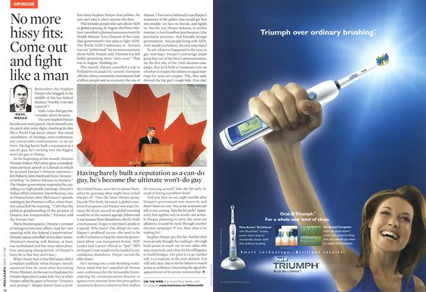 Article Preview: No more hissy fits: Come out and fight like a man, NOV. 27th 2006 2006 | Maclean's
