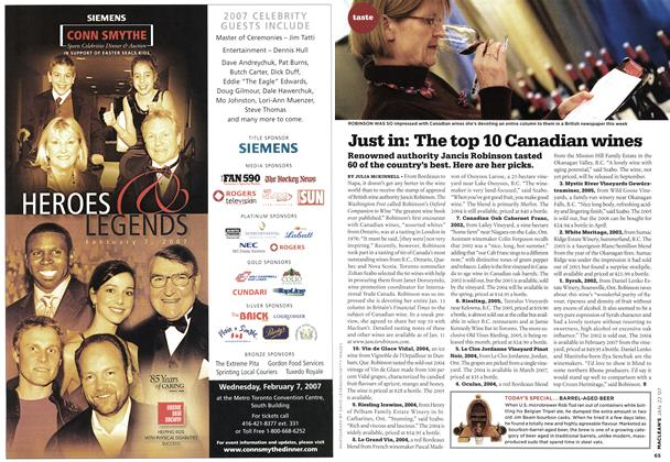 Article Preview: Just in: The top 10 Canadian wines, JAN. 22nd 2007 2007 | Maclean's