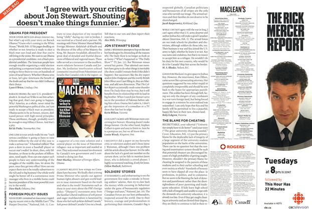 Article Preview: 'I agree with your critic about Jon Stewart. Shouting doesn't make things funnier.', FEB. 19th 2007 2007 | Maclean's
