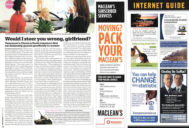 Article Preview: Would I steer you wrong, girlfriend?, MAR. 26th 2007 2007 | Maclean's