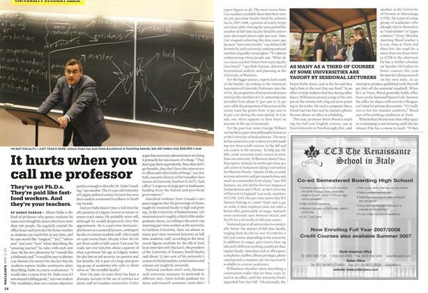 Article Preview: It hurts when you call me professor, APR. 2nd 2007 2007 | Maclean's
